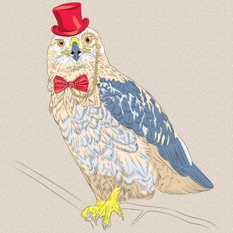 Hipster ptak szorstki myszołów śmieszny struś ptak hipster