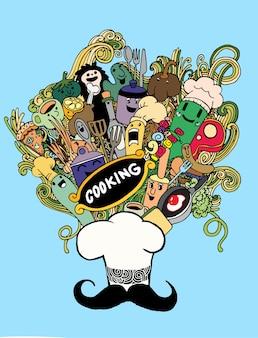 Hipster ręcznie rysowane gotowanie doodle zestaw, rysunek stylu.