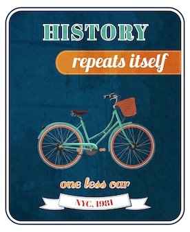Hipster rowerowy promo plakat