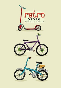 Hipster rowery i wyciągnąć rękę skuter