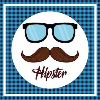 Hipster styl wąsy i okulary