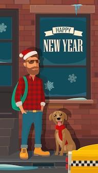 Hipster święty mikołaj, pies i taksówka na ulicy nowego jorku. ilustracja wektorowa płaski kolor. szczęśliwego nowego roku napis.