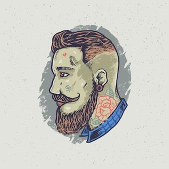 Hipster tatuażem fryzjer facet ilustracja