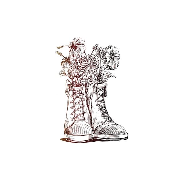 Hipster trampki w ręcznie rysowane grafiki, ilustracja moda wektor.
