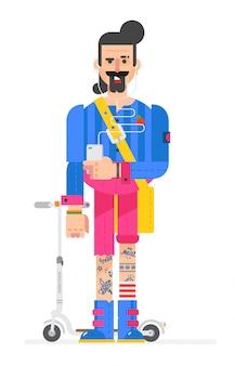 Hipster z kreskówek jest pomalowany w stylu płaskim. wektor.