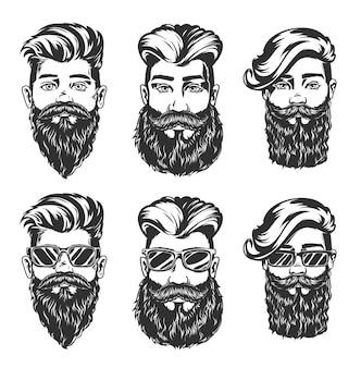 Hipsterskie fryzury i szkice w stylu brody męskich twarzy z modnymi fryzurami, brodami, wąsami i okularami, na białym tle