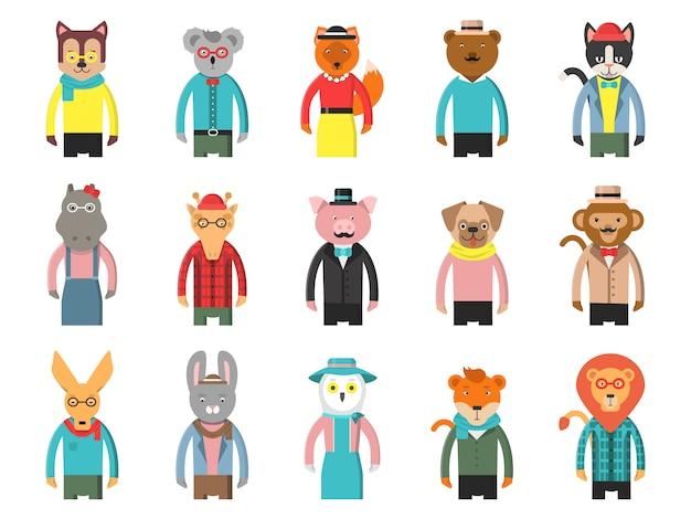 Hipsterskie postacie w zoo, zwierzęta z kreskówek widok z przodu gry awatary lisa niedźwiedzia żyrafa sowa kot i inne maskotki