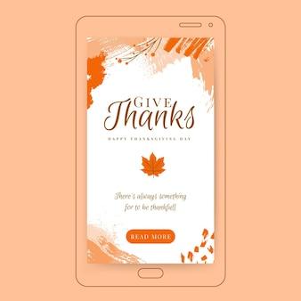Historia dziękczynienia na instagramie