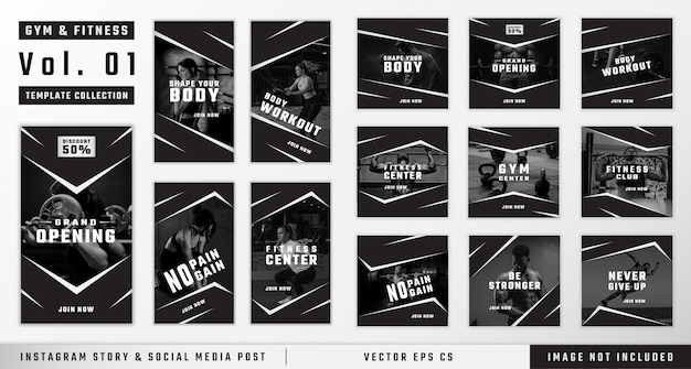 Historia instagramu na siłowni i fitness oraz kolekcja szablonów postów w mediach społecznościowych