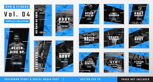 Historia instagramu na siłownię i fitness oraz kolekcja szablonów postów w mediach społecznościowych