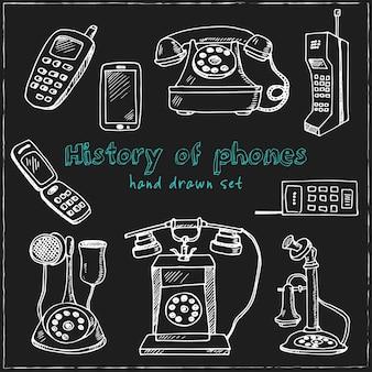 Historia telefonów wyciągnąć rękę doodle zestaw