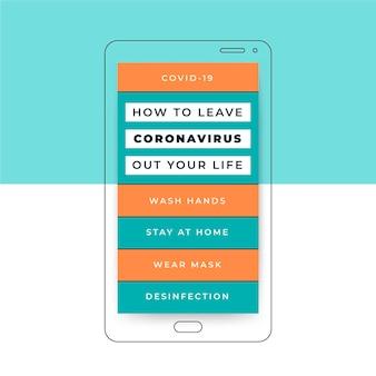 Historia w mediach społecznościowych z siatką koronawirusa