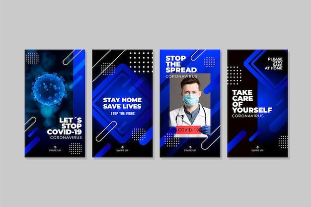 Historie na instagramie dotyczące koronawirusa