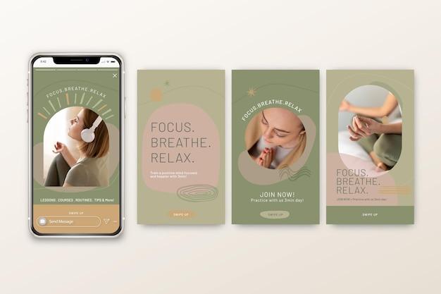 Historie Na Instagramie Dotyczące Medytacji I Uważności Darmowych Wektorów