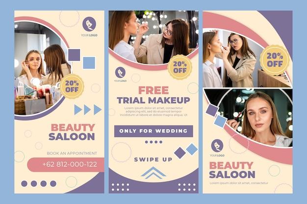 Historie na instagramie dotyczące salonu piękności