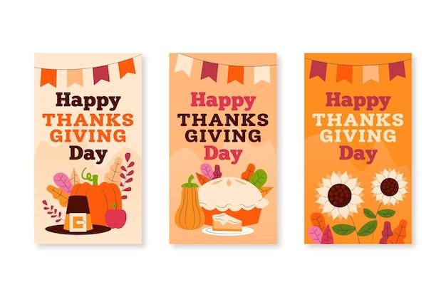 Historie na instagramie dziękczynienia w płaskiej konstrukcji