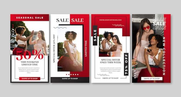 Historie na instagramie o sprzedaży gradientowej