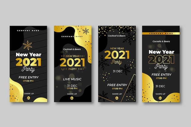 Historie Na Instagramie O Złotym Nowym Roku 2021 Premium Wektorów