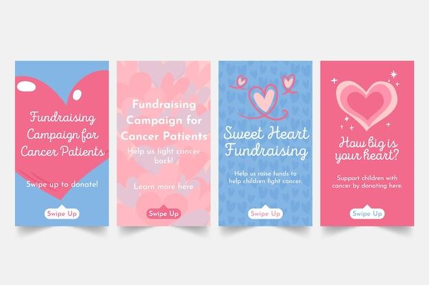 Historie na instagramie z kampanii pozyskiwania funduszy