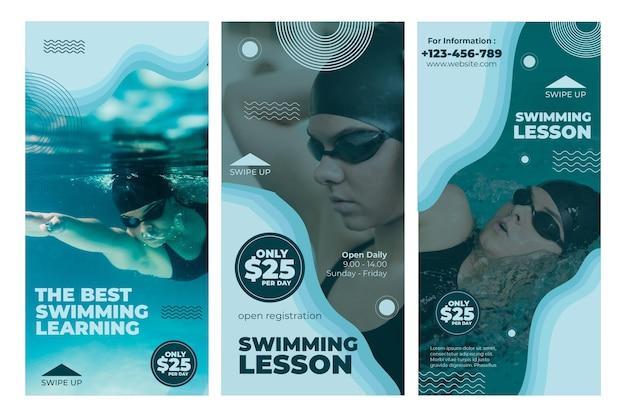 Historie na instagramie z lekcji pływania