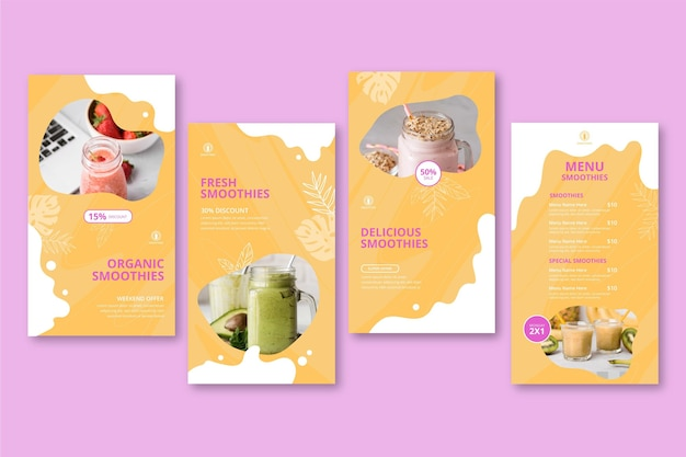 Historie na instagramie z paskami smoothies