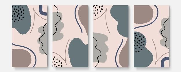 Historie w mediach społecznościowych i zestaw szablonów postów. abstrakcyjne kształty obejmują tło z kwiatowym i kopiować miejsca na tekst lub obrazy. ilustracja wektorowa