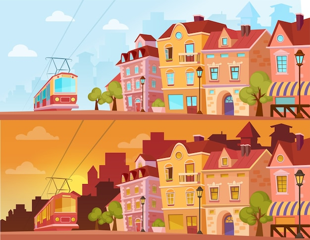 Historyczna ulica miasta o zachodzie słońca, wschodzie słońca i słonecznym dniu. stare miasto z tramwajem. kreskówka