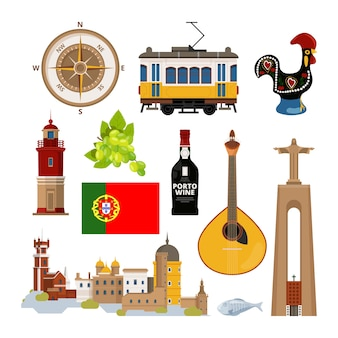 Historyczne symbole portugalii lissabon. zestaw ikon. portugalski punkt orientacyjny, latarnia morska i instrument muzyczny, tramwaj transportowy i ilustracja architektury