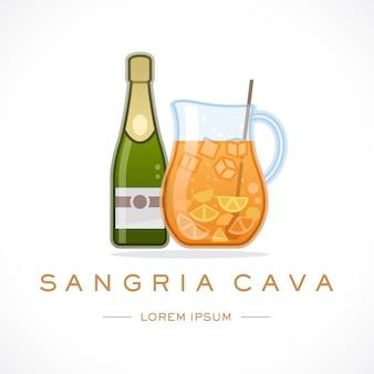 Hiszpania cava sangria projektowanie logo szablon i tekst
