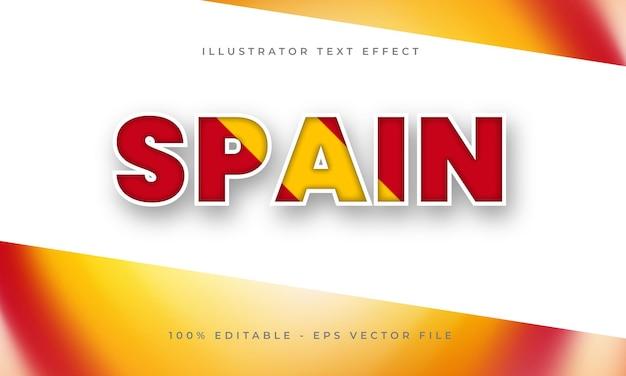 Hiszpania edytowalny efekt tekstowy z teksturą flagi hiszpańskiej