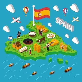 Hiszpania izometryczne mapa ilustracji