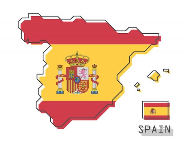 Hiszpania mapa i flaga