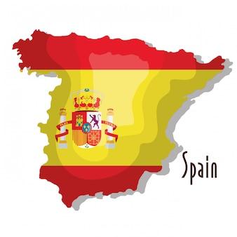 Hiszpania mapa z flagą na białym tle projekt