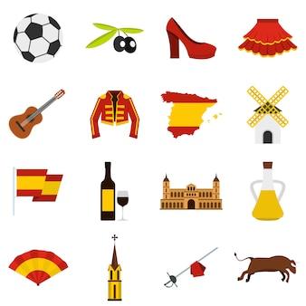 Hiszpania podróż ustawić płaskie ikony