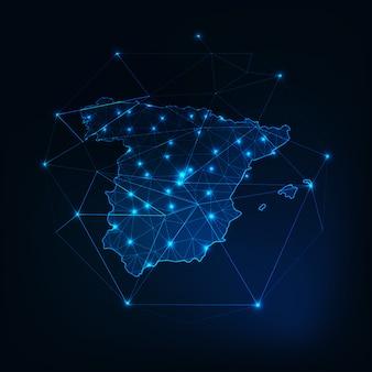 Hiszpania zarys mapy z abstrakcyjnych ram gwiazd i linii.