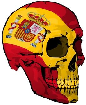 Hiszpańska flaga namalowana na czaszce