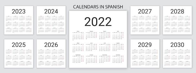 Hiszpański kalendarz 2022, 2023, 2024, 2025, 2026, 2027, 2028, 2029, 2030 lat. ilustracja wektorowa. prosty szablon.