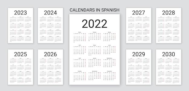 Hiszpański kalendarz 2022, 2023, 2024, 2025, 2026, 2027, 2028, 2029, 2030 lat. prosty szablon kieszonkowy. ilustracja wektorowa.