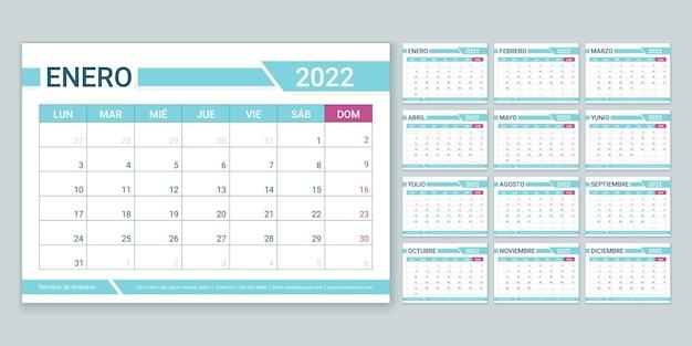 Hiszpański kalendarz 2022 roku. tydzień zaczyna się w poniedziałek. szablon planowania. roczny układ kalendarza.