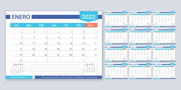 Hiszpański kalendarz na rok 2022. szablon planowania. tydzień zaczyna się w poniedziałek. układ kalendarza