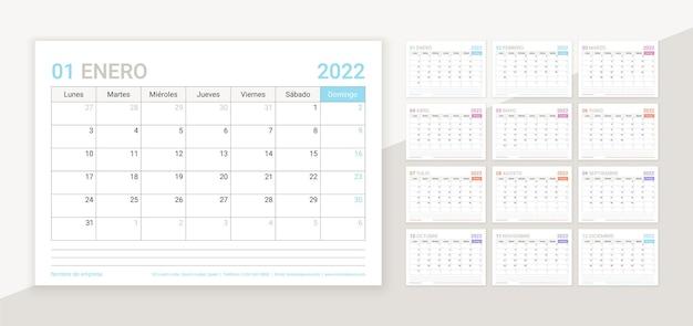 Hiszpański kalendarz na rok 2022. szablon planowania. układ kalendarza stołowego z 12 miesiącem.