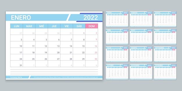 Hiszpański kalendarz na rok 2022. szablon planowania. wektor. tydzień zaczyna się w poniedziałek. siatka zestawienia tabeli. układ kalendarza z 12 miesiącem. organizator roczny. kalendarz miesięczny poziomy. prosta ilustracja