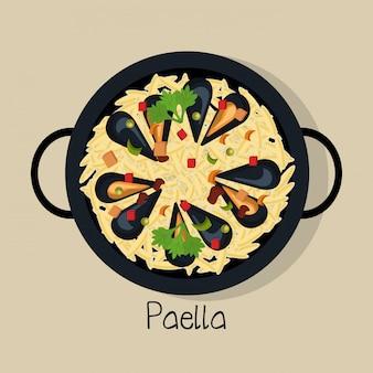 Hiszpański projekt ikona na białym tle paella