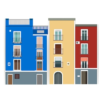 Hiszpańskie kolorowe budynki