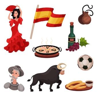 Hiszpańskie tradycyjne symbole i przedmioty. ilustracja na białym tle.