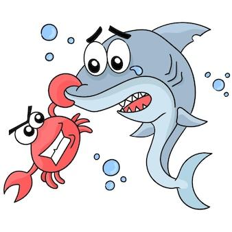 Hius uszczypnięty przez kraba. ilustracja kreskówka naklejka emotikon