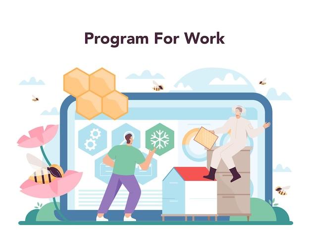 Hiver lub pszczelarz serwis lub platforma internetowa. profesjonalny rolnik