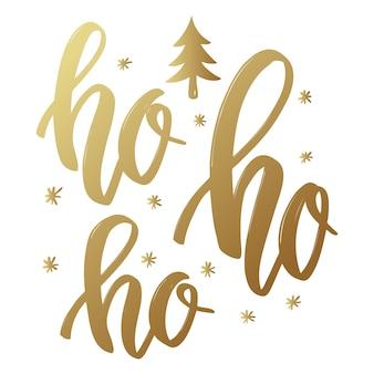 Ho ho ho. fraza napis w złotym stylu na białym tle.