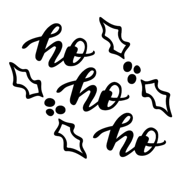 Ho ho ho z jemiołą doodle boże narodzenie sezon cytaty ręcznie napis