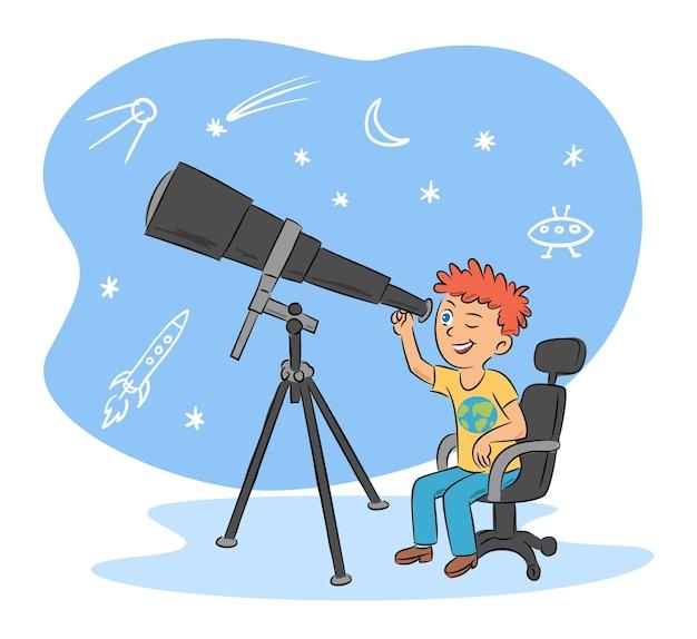 Hobby dla dzieci i uroczy chłopiec astronom z kreskówką teleskopu